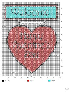 WELCOME, HAPPY VALENTINE'S DAY by DEBRA O. -- HEART WALL HANGING