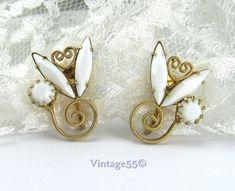 Vintage Earrings Milk Glass Navettes clip on 1940 by Vintage55, $16.00