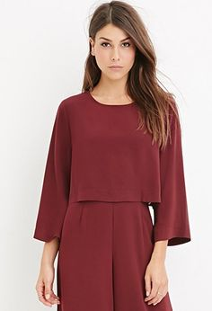 Buy it now. LOVE21 Women's  Burgundy Contemporary Dolman-Sleeved Crop Top. STYLE Forever 21 Contemporary - A crop top complete with dolman 3/4 sleeves and a buttoned keyhole back.Semi-sheerUnlined, woven100% polyesterHand wash coldMade in ChinaFIT Measured from Small15%22 full length, 36%22 chest, 34%22 waist, 18%22 sleeve length , topcorto, croptops, croptops, croptop, topcrop, topscrops, cropped, bailarina, topbailarina, corto, camisolacorta, topcortoestilobandeau, crop, bralet…