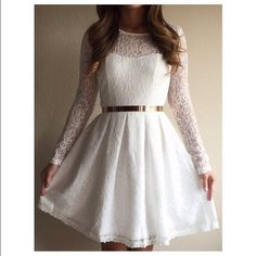 Dresses & Skirts - White lace skater dress