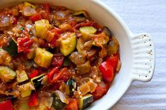 Alice Waters' Ratatouille With Eggplant, Olive Oil, Onions, Garlic Cloves, Basil, Flaked, Sweet Pepper, Summer Squash, Tomatoes, Salt