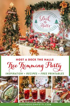 This Deck the Halls Tree Trimming Holiday Party is so much fun! It's complete with recipes, DIY crafts, free printables, a charcuterie board, a gorgonzola loaf recipe, and a kielbassa recipe. Download all of the free  party printables from Just Add Confetti. #christmasparty #partydecor #recipes #freeprintables #partyprintables #JustAddConfetti