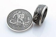 Isle of Man Angel Coin Ring Handcrafted 1oz .999 Pure Silver
