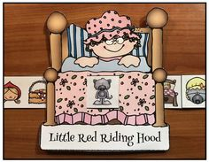 "Reading Activities: Cute ""Little Red Riding Hood"" fairy tale ""slider"" crafts, help sequence & retell the story. Includes 3 options: grandma in bed, Little Red, plus the wolf. (Black & White + color patterns.)"