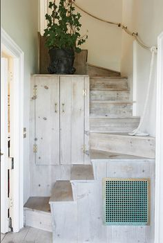 white wash. Great beach house look. cool way to add storage