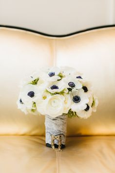 Great Gatsby Inspired Wedding at The London, West Hollywood || Anemone Bouquet || See more on Style Me Pretty: http://www.StyleMePretty.com/2014/02/18/great-gatsby-inspired-wedding-at-the-london-west-hollywood/ Photography: Erin Hearts Court