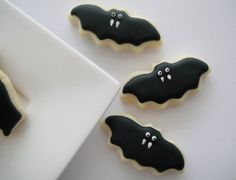 Halloween Cookies Bat Iced Sugar Cookies by OldTimeFavorites at Etsy - Tricks and Treats for the Little Ghouls in Your Life {Faith, Hope, Love, & Luck Survive Despite a Whiskered Accomplice} - #Halloween #Tricks #Treats #Kids #Printables #Bengal #Cat