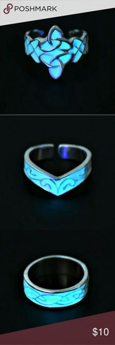 LADIES ADJUSTABLE GLOW IN THE DARK RINGS. 3 STYLES These really pretty glow in the dark rings are just in time for Halloween! ..I wear mine ever day though. Silvertone adjustable rings in 3 different styles. Beautiful Celtic designs.  I have treated each ring with a non tarnish coating. Hypoallergenic. PRICE IS FOR EACH RING. NOT A SET. Jewelry Rings