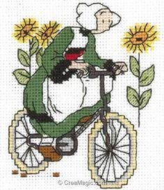 Point de croix à broder Bécassine fait du vélo sur toile Aida kit broderie de Princesse 7127