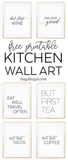 Create a cute kitchen gallery wall with this set of six free printable kitchen art prints. Simply print and frame your favorite designs!