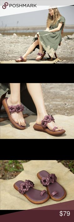 New by order Handmade purple flowers sandals If you're looking for a boho chic, unique and stylish sandals to enhance your summer , these stunning pair are the perfect ones for the mission. The platform adds the right  amount of hight. Flower embellish with grain cowhide leather. You will be enjoying these this summer. Comes in green as well. Half size are available. Color for this listing is purple taupe. No bundle items. Matana Shoes Sandals