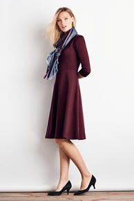 3/4 Sleeve Ponté Flounce Dress