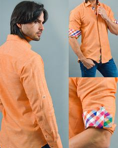 Orange designer dress shirt, Colorful cross striped pattern cuffs and liner, Metallic buttons, Lateral button to hold rolled up sleeves, Via Uomo signature, Linen fabric, Made in Turkey, Ship from Miami, USA