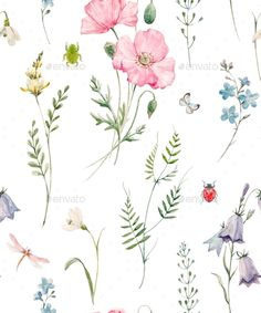 Watercolor Floral Pattern - Miscellaneous Illustrations