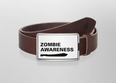 Belt Zombie Awareness | Wechselwild Belt with interchangeable designs #belt #buckle #guertel #guertelschnalle #lederguertel #leder #leatherbelt #leather #zombie #awareness #zombieattack #defense #white #black #moserflo