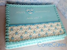Anniversary 1/2 sheet cake by CorrieCakes - For the little white lattice pieces Corrie used the Wilton hydrangea blossom cutter and folded in two of the petals to the middle and poked the tips down into the center. *See close up: https://www.facebook.com/CorrieCakes/photos/np.1440539419256191.1761954492/830383917059262/?type=1&notif_t=notify_me_page