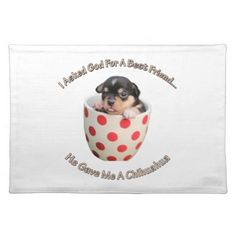 Chihuahua Is My Best Friend Cloth Placemat - dog puppy dogs doggy pup hound love pet best friend
