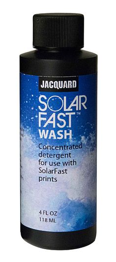 SolarFast Wash is a high-strength, concentrated detergent used to remove undeveloped SolarFast dye after exposure to UV light. Works even better than Synthrapol. Dyeing Fabric, How To Dye Fabric, Sun Painting, Light Works, Yarns, Drink Sleeves, Strength, How To Remove, Bottle