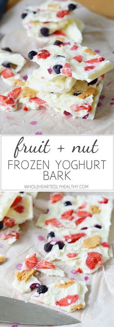 Recipe for protein packed healthy snack - frozen yoghurt bark Healthy Yogurt, Healthy Snacks, Snack Recipes, Dessert Recipes, Protein, Frozen Yoghurt, Bark Recipe, Breakfast Dishes, Frozen Desserts