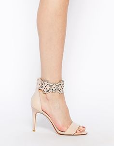 Image 4 ofDune Hilaze Nude Leather Ankle Cuff Heeled Sandals
