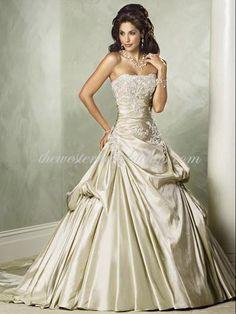 Western Ball Gown Strapless Court Train Taffeta Luxury Wedding Dress - $145.73 : Western Wedding Dresses