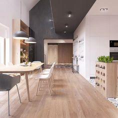 Vista cucina e sala da pranzo dall'entrata - design appartamento scandinavo
