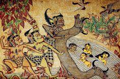 Klunkung Bali. Wall painting.