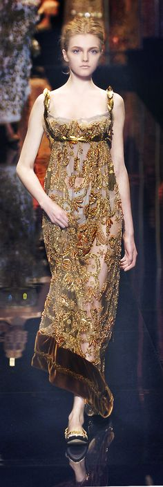 Gold embellished beads with a touch of brown evening gown... Stunning... Dolce & Gabbana 2006 Fall/Winter.