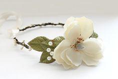 Ivory Floral Crown. Gardenia flower crown by rosesandlemons