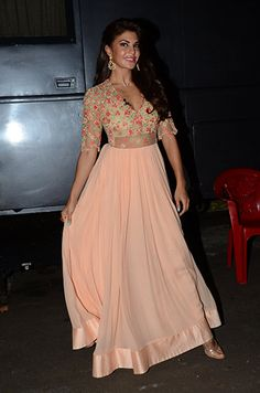Jacqueline Fernandez in a Ridhi Mehra outfit and Jet Gems.