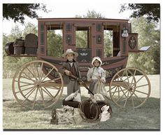 """""""The Prairie Kids"""" Old Time Photo Booth for rent in Little Rock AR with Stagecoach Backdrop, Country Costumes, Prairie Dresses & Suites, Bonnets, Cowboy Hats, Accessories, & Guns with complete mobile service to the entire USA!"""