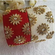 Bollywood Style Bangles Party wear Marriage Silk thread bangles for both hands 1 piece for each hand Silk Thread Bangles Design, Silk Bangles, Silk Thread Earrings, Bridal Bangles, Thread Bracelets, Thread Jewellery, Fabric Jewelry, Kundan Bangles, Hand Jewelry