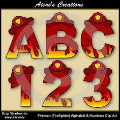 Fireman Fire Fighter Alphabet Letters & Numbers by AisnesCreations Fireman Party, Firefighter Birthday, Fireman Sam, Fireman Crafts, Firefighter Clipart, Alphabet And Numbers, Alphabet Letters, Articles En Bois, Community Helpers Preschool