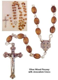 Olive Wood Rosary with Jerusalem Cross 7mm