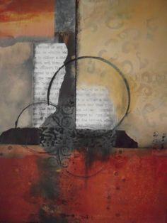 """""""Zon"""" Original Abstract, Mixed Media Painting by California Contemporary Mixed Media Artist Barbara Van Rooyan"""
