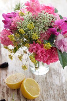 flowers, lemon and blackberries