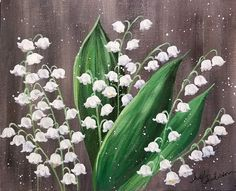 Lily of the Valley Floral Acrylic on @fredrixcanvas Painting FREE YouTube Tutorial #princetonbrushes #lilyofthevalley #acrylicpainting