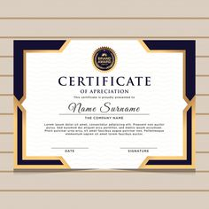 plantilla de certificado de diploma azul y oro. Certificate Layout, Certificate Background, Certificate Of Achievement Template, Certificate Design Template, Award Certificates, Powerpoint Design Templates, Ppt Template, Brochure Design, Elegant