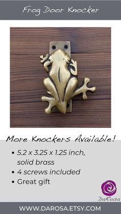 Frog Door Knocker Brass Front Door Decor Gift Amphibian image 6