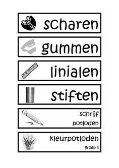 Labels voor op kastje.pdf Classroom, Teacher, Education, 1, Planning, School, Class Room, Teaching
