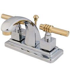 Kingston Brass KS464.QL Milano Centerset Bathroom Faucet with Brass Pop-Up Drain