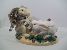 The Haldon Group Rabbit Parade Double Bunny Centerpiece - Dated 1987 - Japan