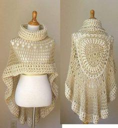 Tina's handicraft : poncho - Love Crochet Poncho Au Crochet, Crochet Cape, Crochet Poncho Patterns, Crochet Stitches, Free Crochet, Knitting Patterns, Poncho Scarf, Irish Crochet, Crochet Crafts