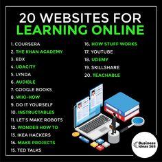 20 Websites For Learning Online - business ideas entrepreneur Life Hacks Websites, Hacking Websites, Useful Life Hacks, Life Hacks For School, School Study Tips, Study Skills, Life Skills, Life Hacks Computer, Educational Websites