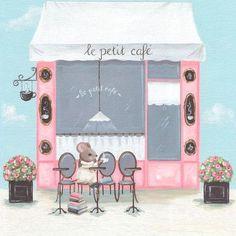 "Oopsy Daisy Little Petite Cafe Canvas Art Size: 10"" H x 10"" W x 1.5"" D"
