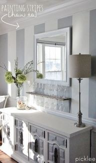 How to Paint Simple Wall Stripes  Absolutely love this look and have been wanting to do this for years.  Stripes can give your space a taller or longer look depending on the horizontal or vertical direction of the stripes.  Check out the blog -   Picklee for more