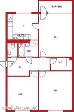 3 rooms + kitchen + walk in closet + balcony (78m2) / Läpitalon kolmio: keittiö + vaatehuone + parveke (78m2) #pohjapiirros Floor Plans, Floor Plan Drawing, House Floor Plans