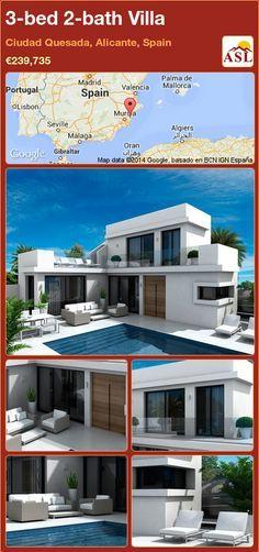 3-bed 2-bath Villa in Ciudad Quesada, Alicante, Spain ►€239,735 #PropertyForSaleInSpain