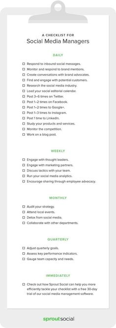 A Complete Checklist for Social Media Managers (Infographic) #socialmedia #infographic #infographics #socialmediamarketing #smm