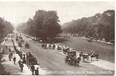 Rotton Row Hyde Park London Real Photograph Street Scene Horse and Buggies Vintage Postcard #ButterflysPin